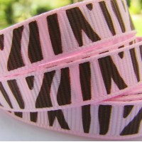 "3/8"" or 9mm Zebra Grosgrain Ribbon - PINK"