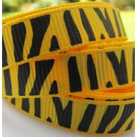 "3/8"" or 9mm Zebra Grosgrain Ribbon - YELLOW"