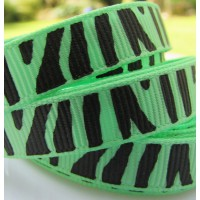"3/8"" or 9mm Zebra Grosgrain Ribbon - MINT"