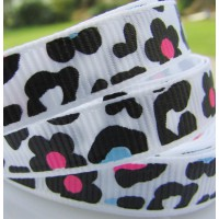 "3/8"" or 9mm Leopard Grosgrain Ribbon - WHITE"