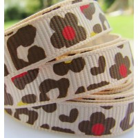 "3/8"" or 9mm Leopard Grosgrain Ribbon - BROWN"