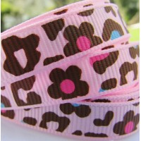 "3/8"" or 9mm Leopard Grosgrain Ribbon - PINK"
