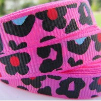 "3/8"" or 9mm Leopard Grosgrain Ribbon - HOT PINK"