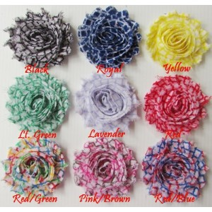 "2.5"" Quatrefoil Shabby Printed Flowers - 9 designs available"
