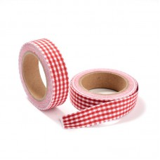 "15mm Fabric Adhesive Tape ""Plaid or Gingnam"" - Crimson"