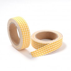 "15mm Fabric Adhesive Tape ""Plaid or Gingnam"" - Gold"