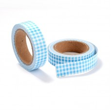 "15mm Fabric Adhesive Tape ""Plaid or Gingnam"" - Sky Blue"