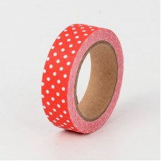 "15mm Fabric Adhesive Tape ""Polka Dot"" - Red"