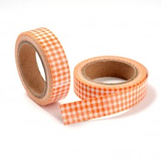 "15mm Fabric Adhesive Tape ""Plaid or Gingnam"" - Tomato"