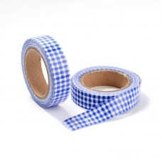 "15mm Fabric Adhesive Tape ""Plaid or Gingnam"" - Blue"