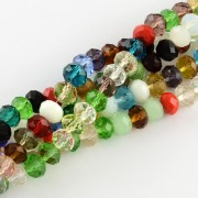 8mm Faceted Abacus Glass Beads - Multi