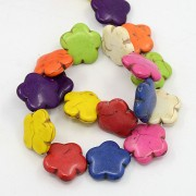 Natural Howlite Beads - Flower