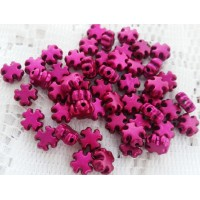 8mm Acrylic Cross Beads - Fuchsia