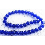 8mm Faceted Round Glass Beads - Royal