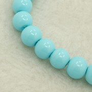 8mm Pearlized Glass Round Beads - Deep Sky Blue