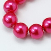 8mm Pearlized Glass Beads - Deep Pink