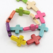 Natural Howlite Beads - 30mm CROSS