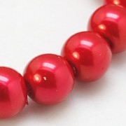 8mm Pearlized Glass Beads - Crimson