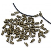 8mm x 4mm Spring ends Cord Tips - Antique Bronze