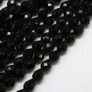 Faceted Glass Beads - Black Drop