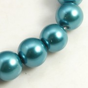 8mm Pearlized Glass Beads - Teal