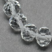 8mm Faceted Abacus Glass Beads - Clear