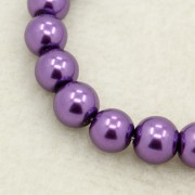8mm Pearlized Glass Beads - Dk. Purple