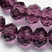 8mm Faceted Abacus Glass Beads - Dk. Purple