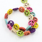 12mm Synthetic Turquoise Beads - PEACE SIGN