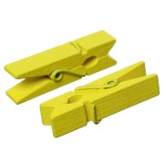 35mm Wooden Clothespin Clips / Pegs - YELLOW