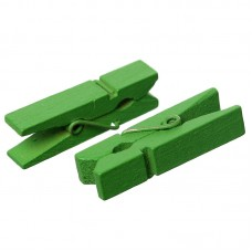 35mm Wooden Clothespin Clips / Pegs - GREEN