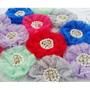 "3.5"" Vintage Lace Flower - 10 colours available"
