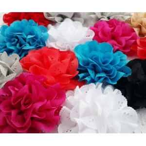 "4"" Eyelet Fabric Flowers - 14 colours available"