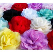 "3"" Chiffon Silk Rose Flower - 10 colours available"