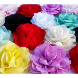 """3"""" Chiffon Silk Rose Flower - 10 colours available"""