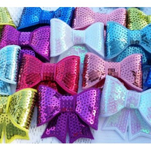 """3"""" Large Sequin Bows - 10 colours available"""