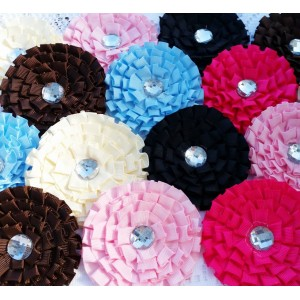 """3"""" Large Ribbon Ruffle Flowers - 10 colours available"""