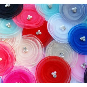 """3"""" Organza Poppy fabric flower - 10 Colours Available"""