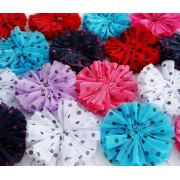 "3.4"" Polka Dot Puff Flowers - 9 colours available"