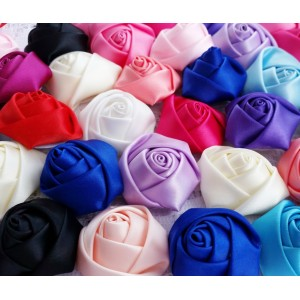 """1.5"""" Satin Rolled Rosettes - 15 colours available"""