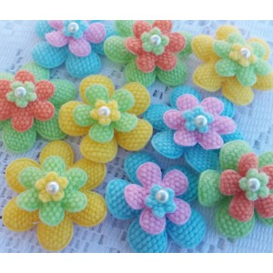 4.2cm Layered Flowers - 3 colours available