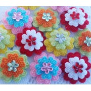 2.8cm Mini layered flowers - 4 colours available