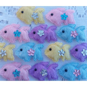 4cm Padded Mini Fish w/ Rhinestones - 6 colours available