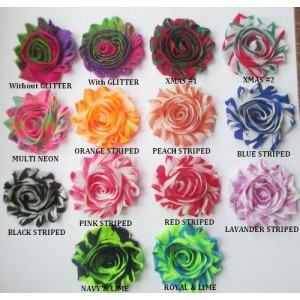 "2.5"" Shabby Printed Flowers - 14 designs available"
