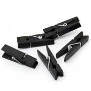 35mm Wooden Clothespin Clips / Pegs - BLACK