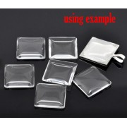 20mm Clear Square Glass Dome Tile Cabochon