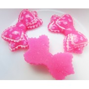 25mm Heart printed bow Flat back Resin - Hot Pink