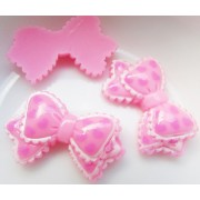 25mm Heart printed bow Flat back Resin - Lt. Pink