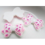 25mm Heart printed bow Flat back Resin - White
