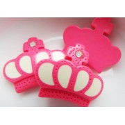 26mm Charming Crown Flat back Resin - Hot Pink